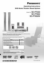 Panasonic sc-pt550 sc-pt850 sc-pt850w home theater system manual.