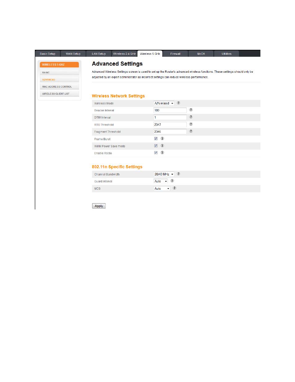 6 Wireless 5 Ghz U2013 Advanced Settings Wireless 5 Ghz Manual Guide
