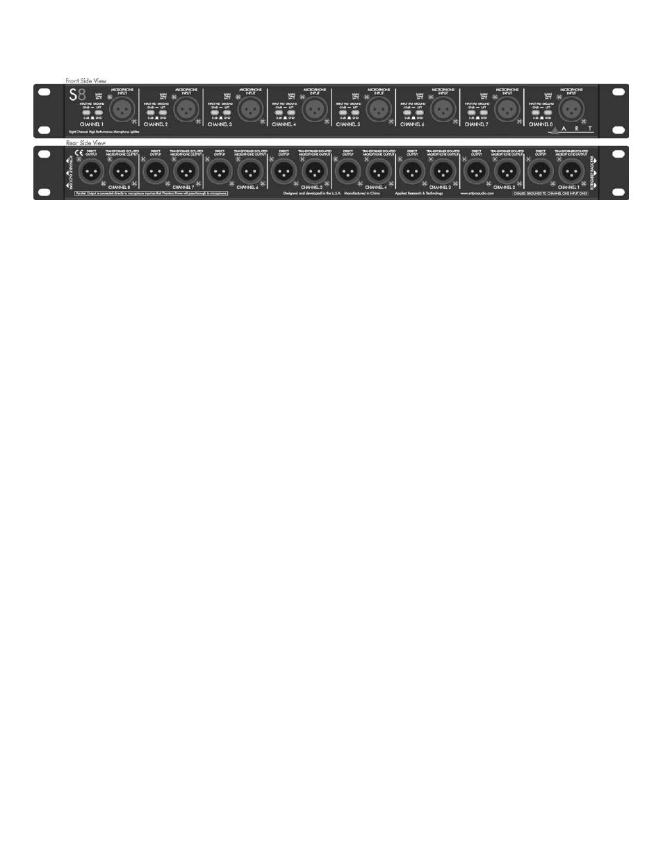 ART Pro Audio S8 - Eight Channel Mic Splitter User Manual