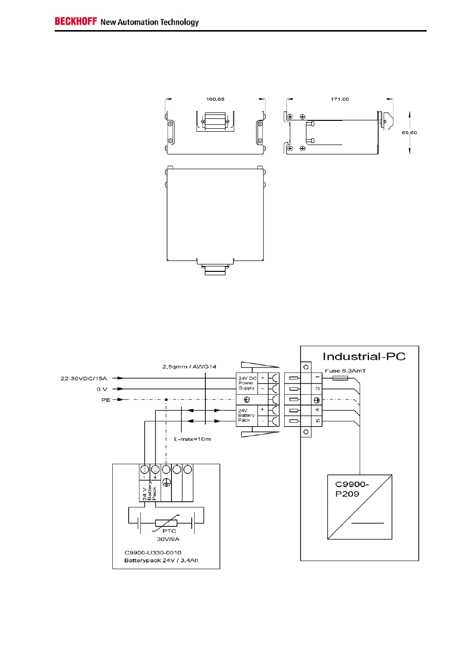 assembly dimensions, wiring diagram | beckhoff c9900-u330-0010 user manual  | page 11 / 12  manuals directory