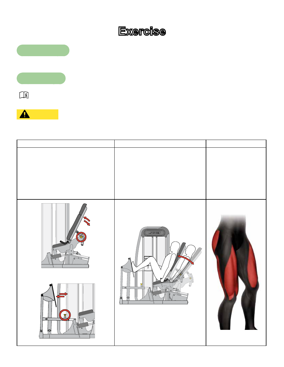 background image. 17. Cybex Owner's Manual. Exercise