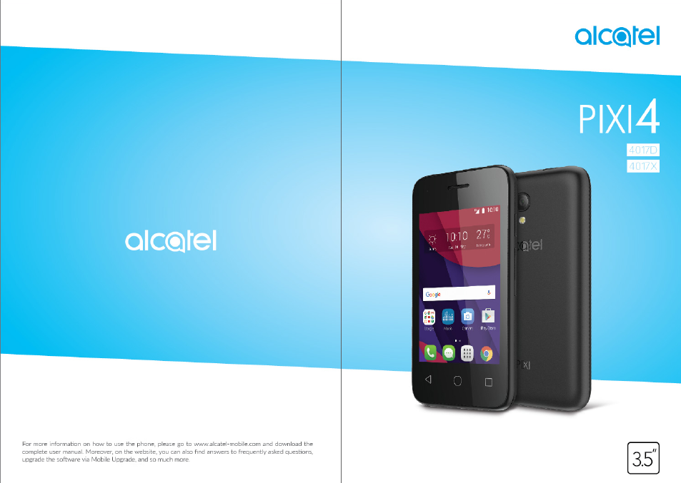 Alcatel Pixi 4 4017 D User Manual | 61 pages | Also for