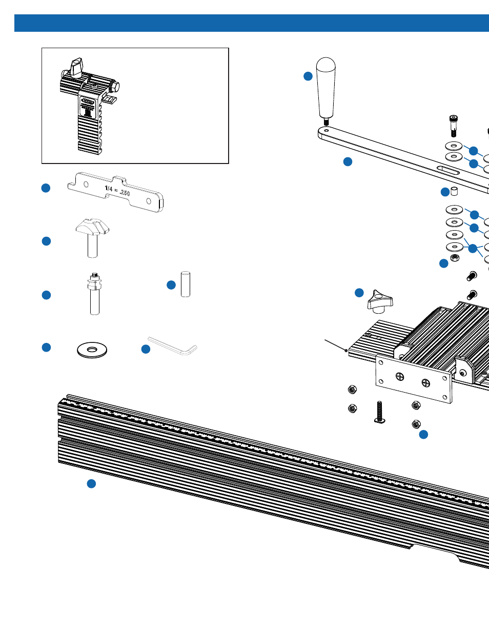 Beaded face-frame fence exploded parts diagram | Kreg PRS1200 ...