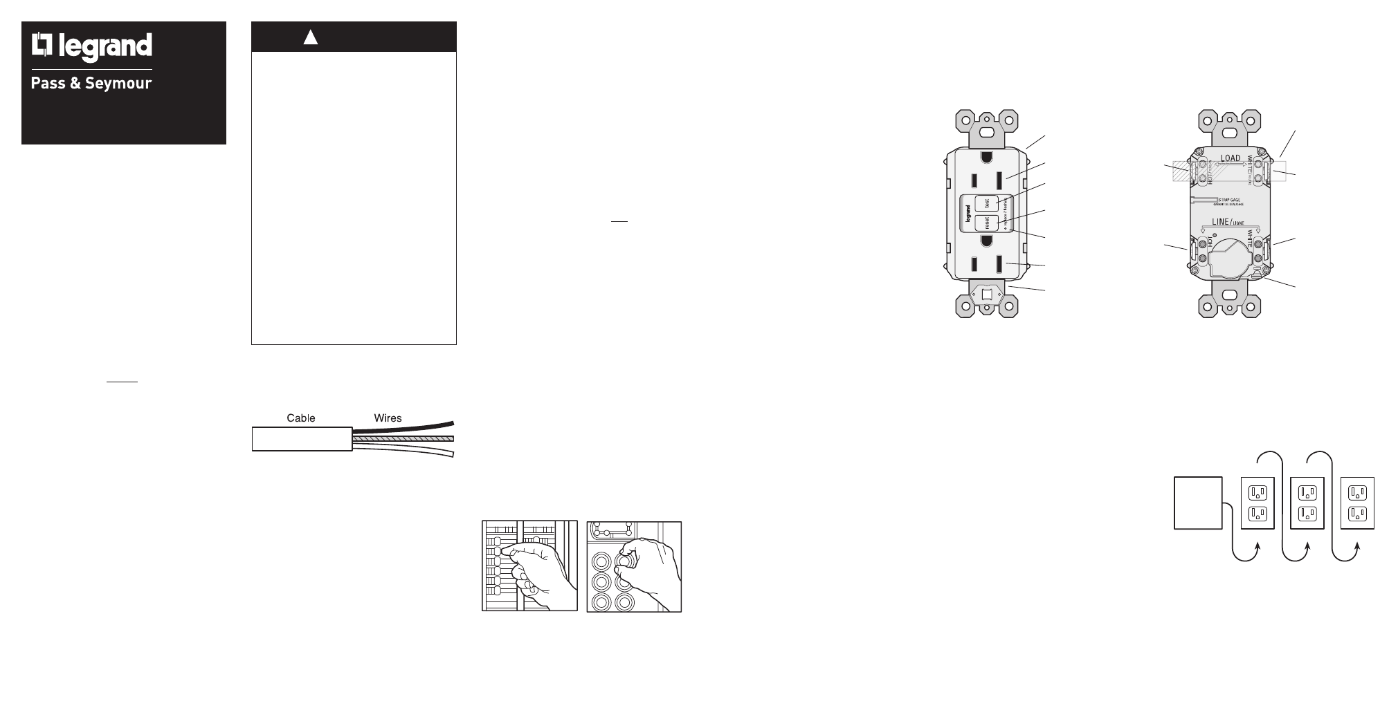 Legrand 1595h Series Gfci Receptacle Revb User Manual 2 Pages Wiring Outlet Diagram Background Image