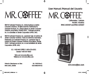 Mr. Coffee 5 cup coffeemaker tf series user instruction manual.