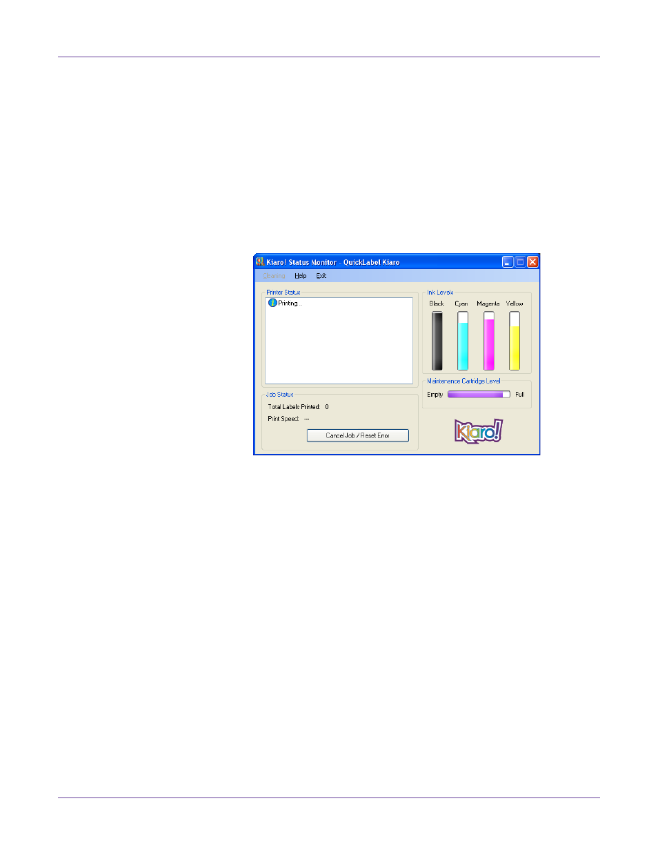Using the status monitor, Viewing the printer status | QuickLabel