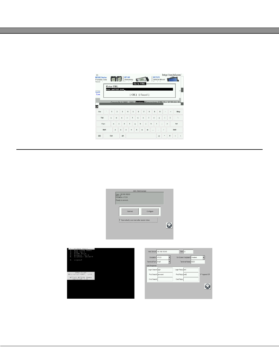 On-screen keyboard, Vt100/220 terminal emulator, Kdt750