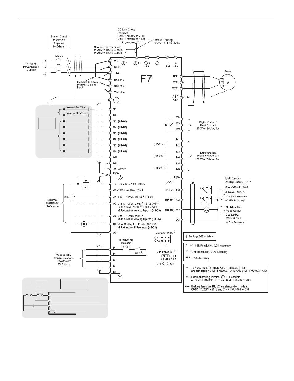 6 main control pcb comparison, figure 3 f7 connection diagram ... yaskawa wiring diagram yaskawa a1000 wiring diagram manuals directory