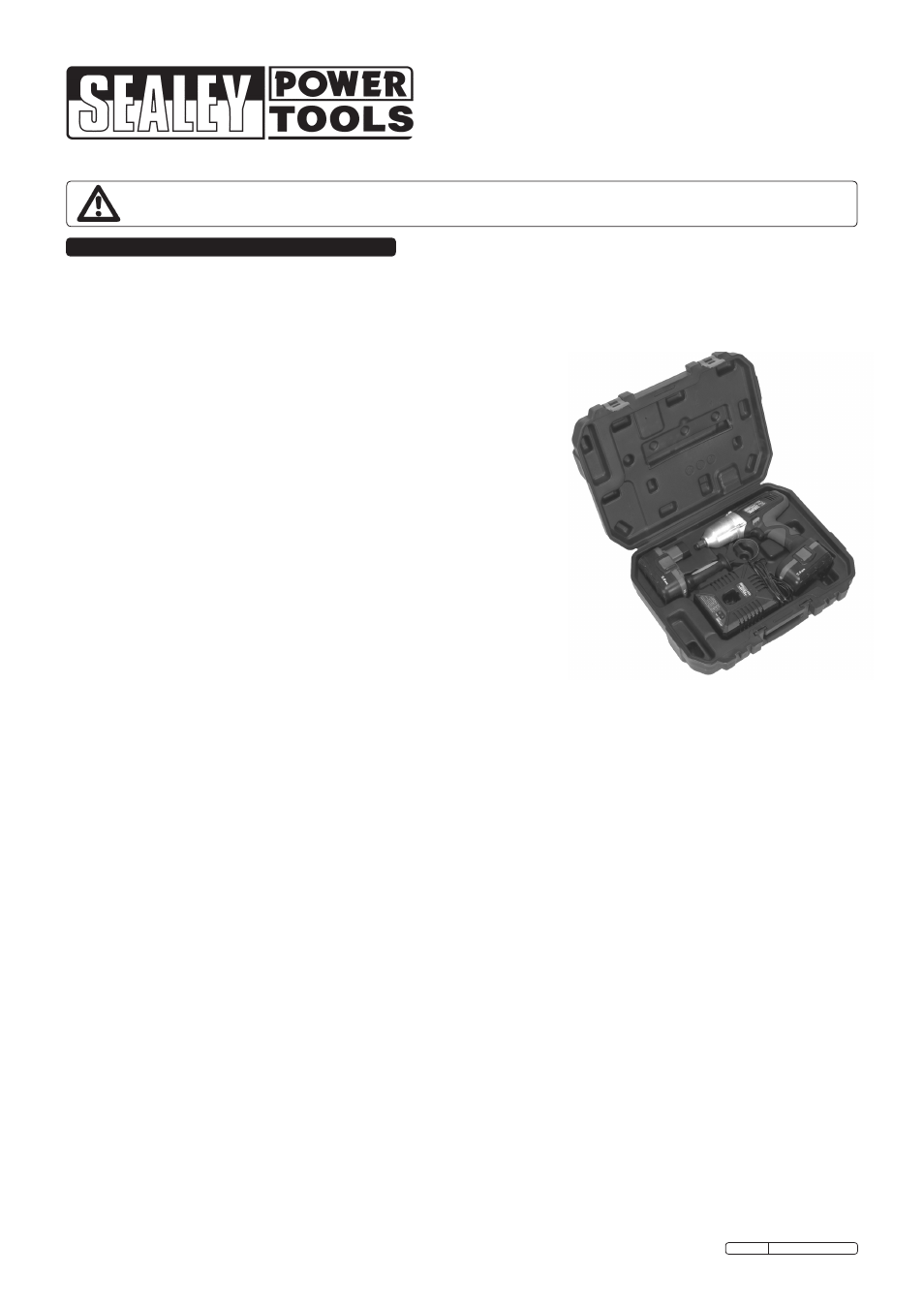 Sealey Cp1950 User Manual 3 Pages Always Plug Power Tools Into A Rcb Circuit Breaker As Safety Background Image