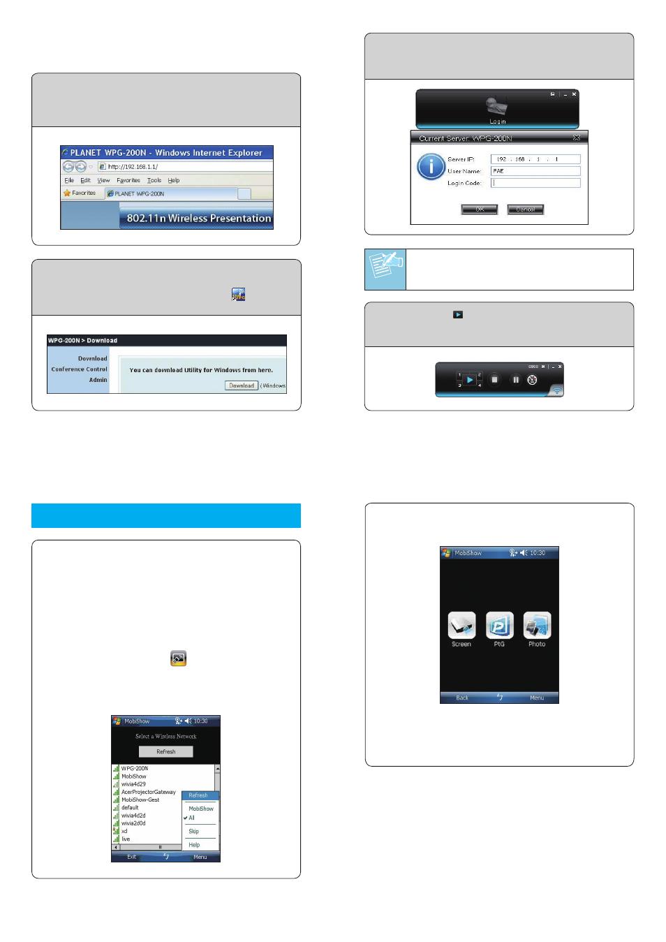 11n wireless presentation gateway 30fps wpg 200n planet wpg 200n rh manualsdir com Windows Mobile 6 Windows Mobile 7