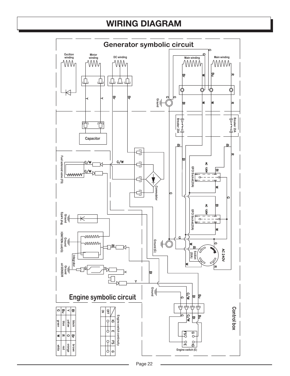 Wiring diagram, Engine symbolic circuit, Generator symbolic circuit |  Homelite HG6000 User Manual | Page 22 / 24