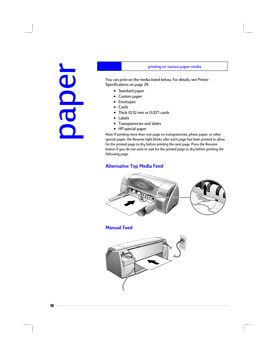 printing on various paper media  alternative top media