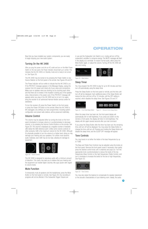 Operation Turning On The Hk 3490 Volume Control Harman Kardon Controlpng Hk3490 User Manual Page 23 32