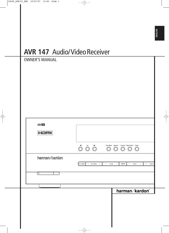 harman kardon avr 147 user manual 52 pages rh manualsdir com Harman Kardon AVR Models Harman Kardon AVR 320 Manual