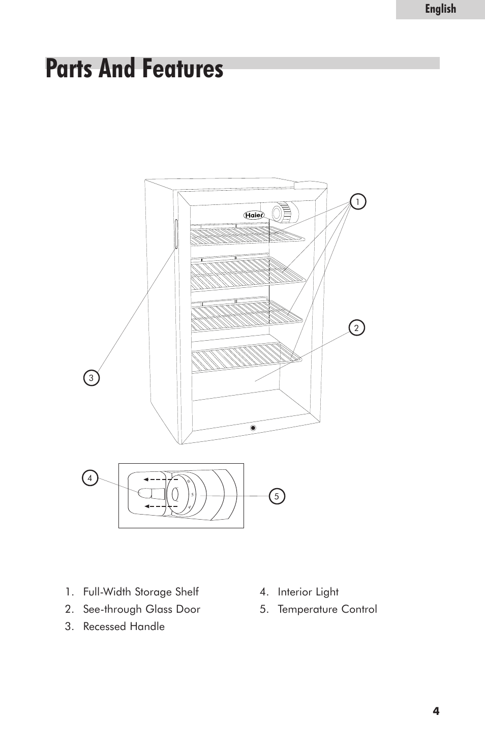 parts and features english haier hc125fvs user manual page 5 48 rh manualsdir com Haier Portable Air Conditioner Manual Haier Room Air Conditioner Manual