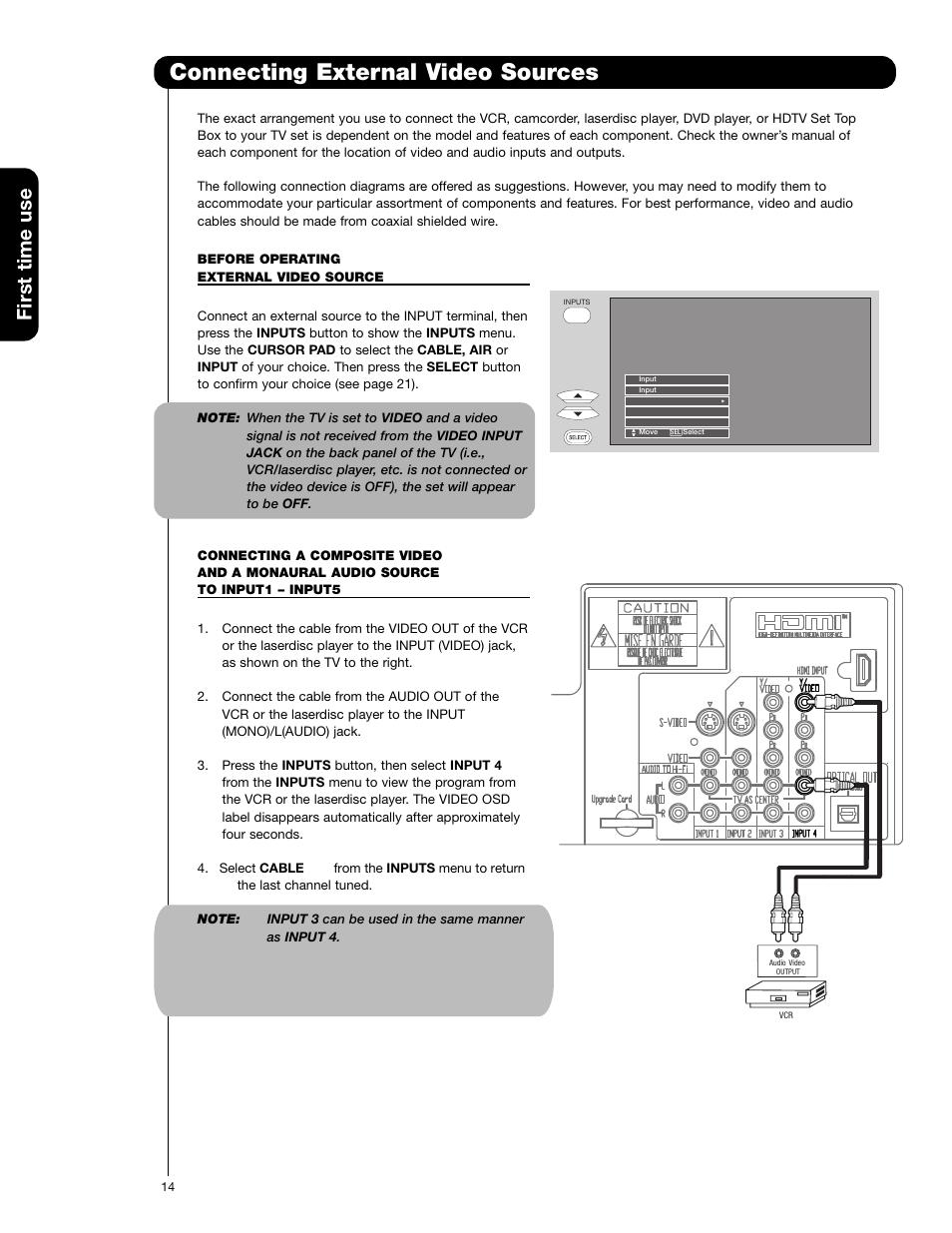 connecting external video sources first time use hitachi 51f59 rh manualsdir com Hitachi 51F59A Lamp Replacement Hitachi 51F59A Manual