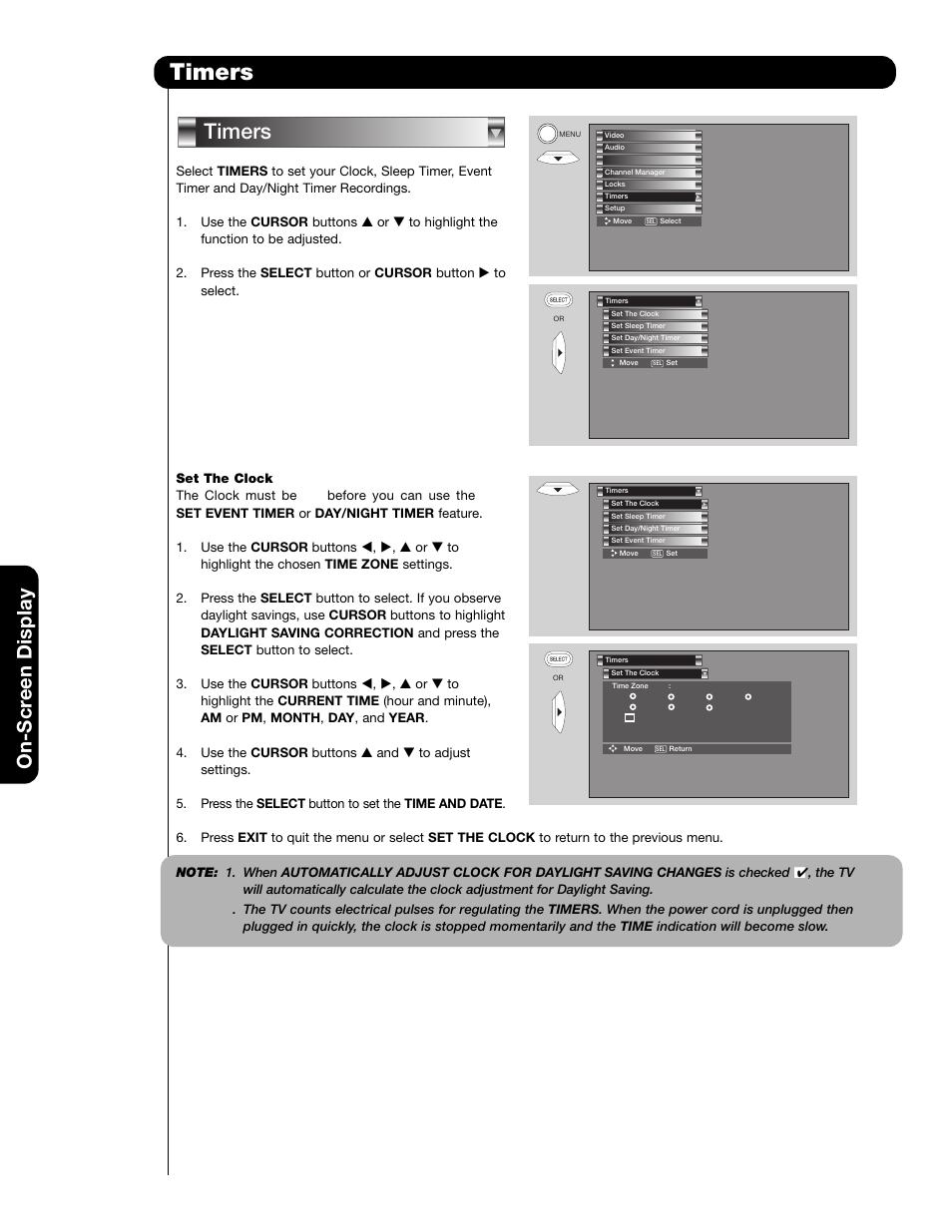 timers on scr een display hitachi 51f59 user manual page 50 75 rh manualsdir com Hitachi Rear Projection TV 51F59A Hitachi 51F59A Manual
