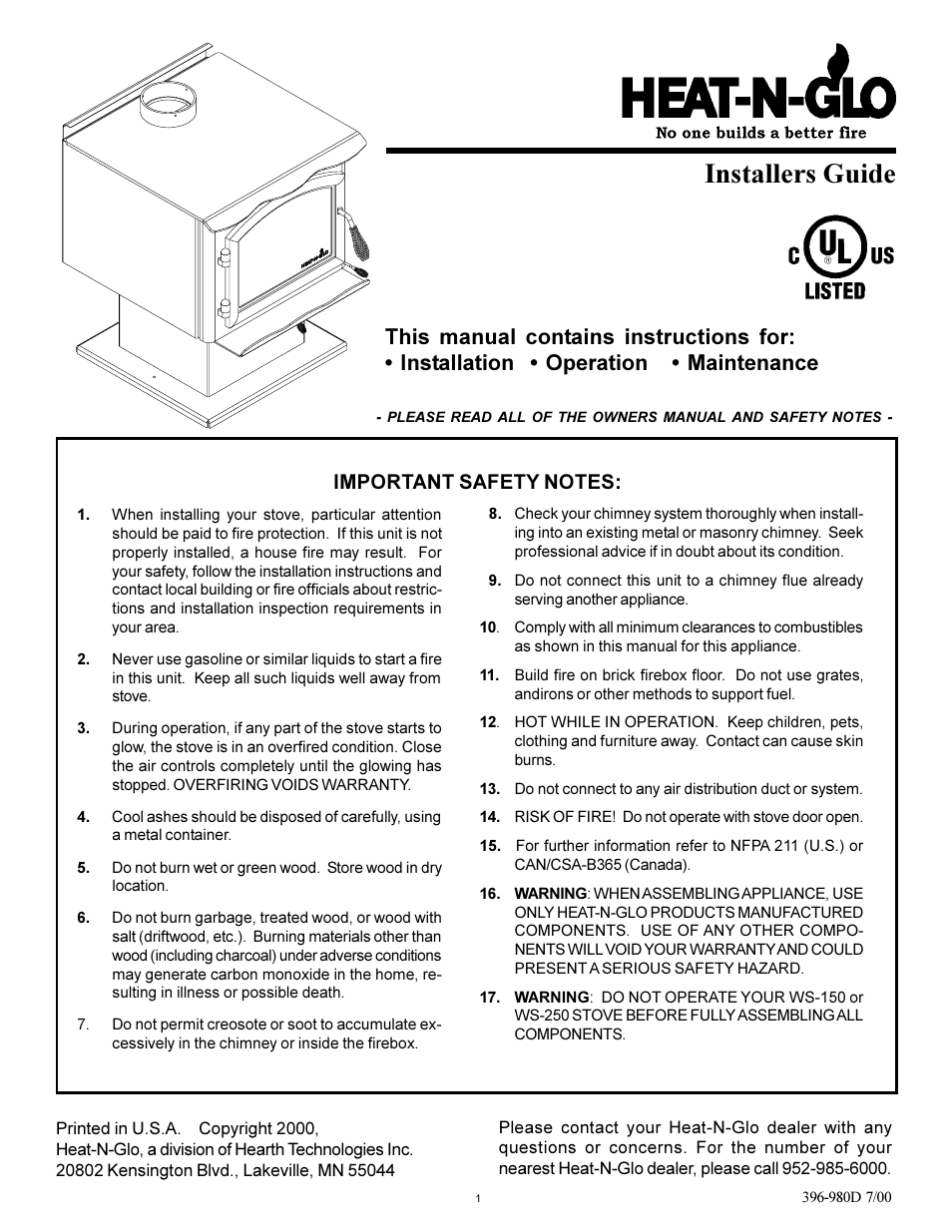 Heat Glo Fireplace Ws 250 User Manual 27 Pages Also For Ws 150