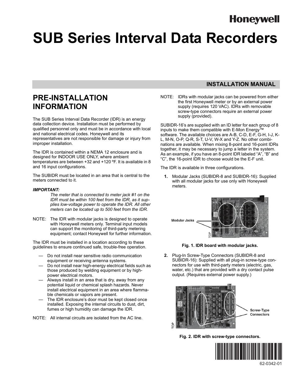 Honeywell Sub Series Interval Data Recorders 62 0342 01 User Manual Emon Meter Wiring Diagram Get Free Image About 16 Pages