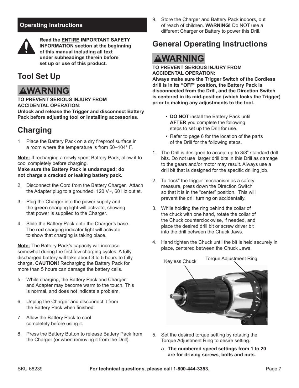 tool set up charging general operating instructions harbor rh manualsdir com dewalt drill user manual disk drill user manual