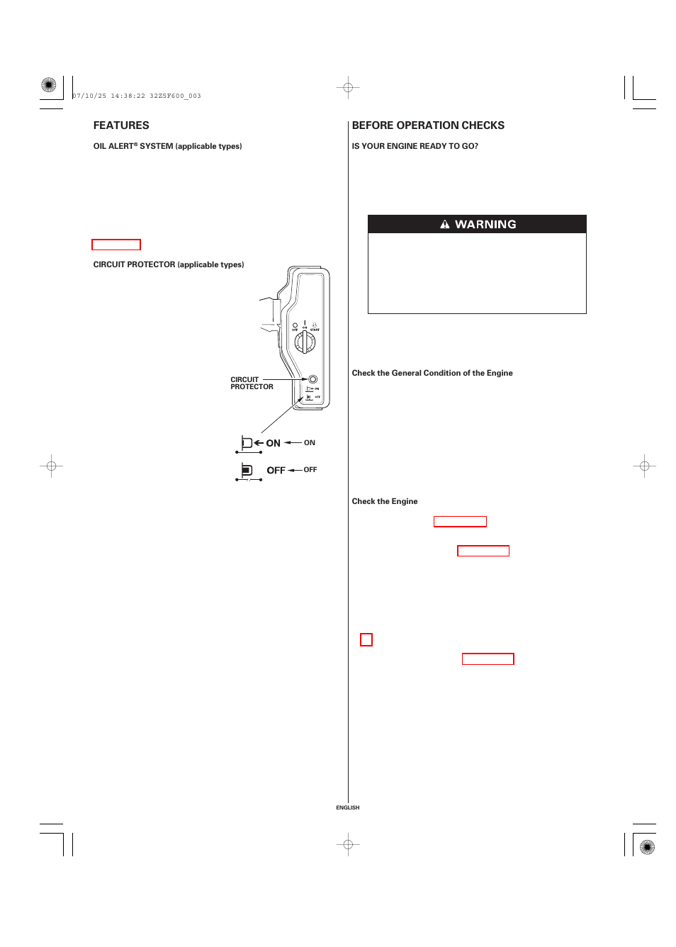 Features, Oil alert® system (applicable types), Circuit protector  (applicable types