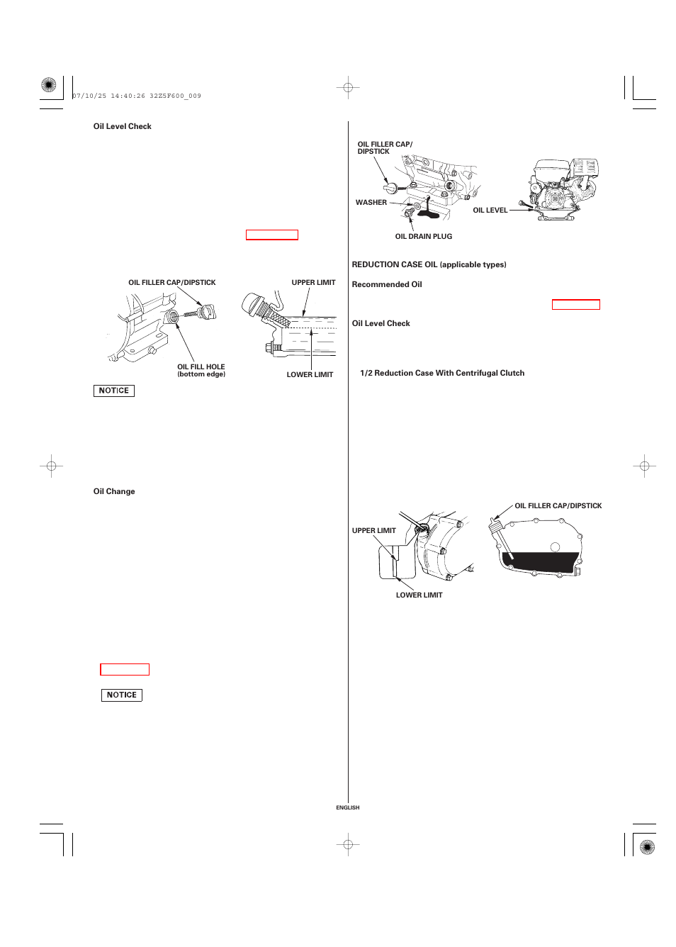 Oil level check, Oil change, Reduction case oil (applicable types) |  Recommended