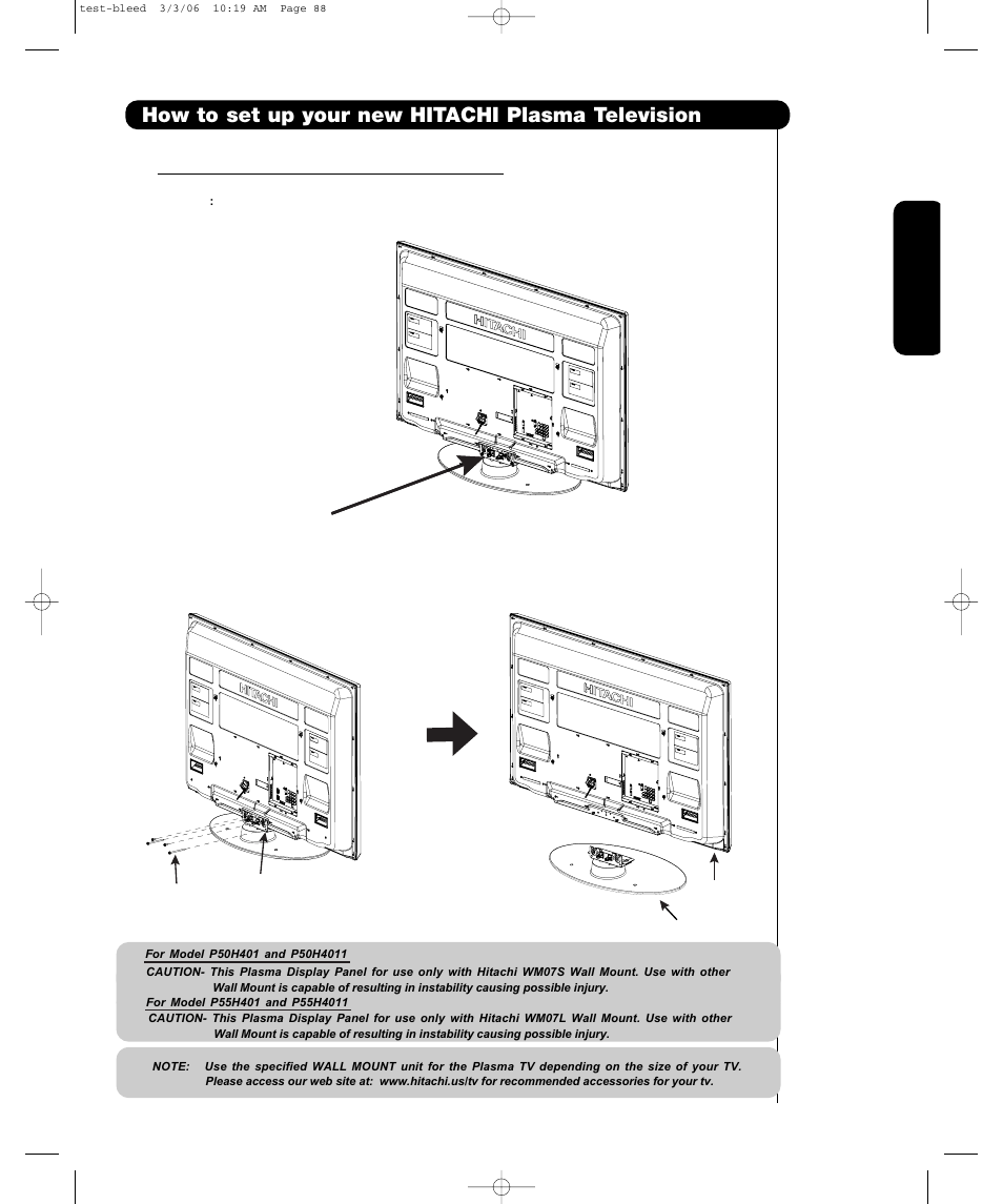 how to set up your new hitachi plasma television | hitachi p55h4011 user  manual | page 7 / 144