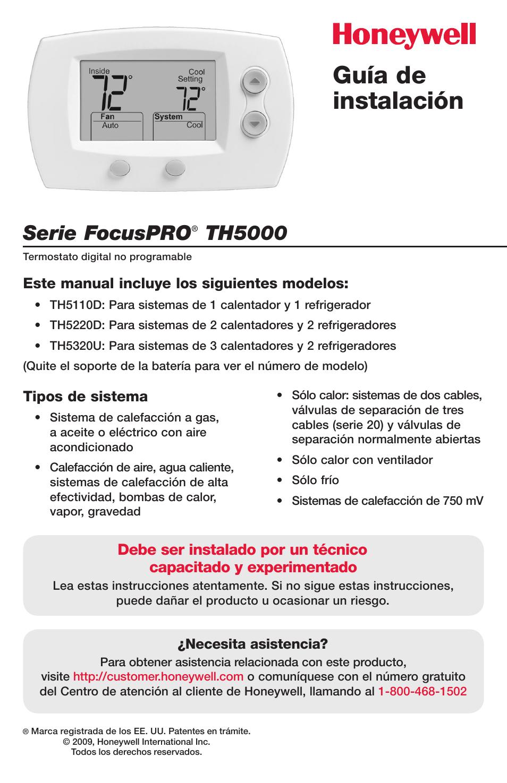 Guía de instalación, Serie focuspro, Th5000 | Honeywell FocusPRO TH5000  Series User Manual |