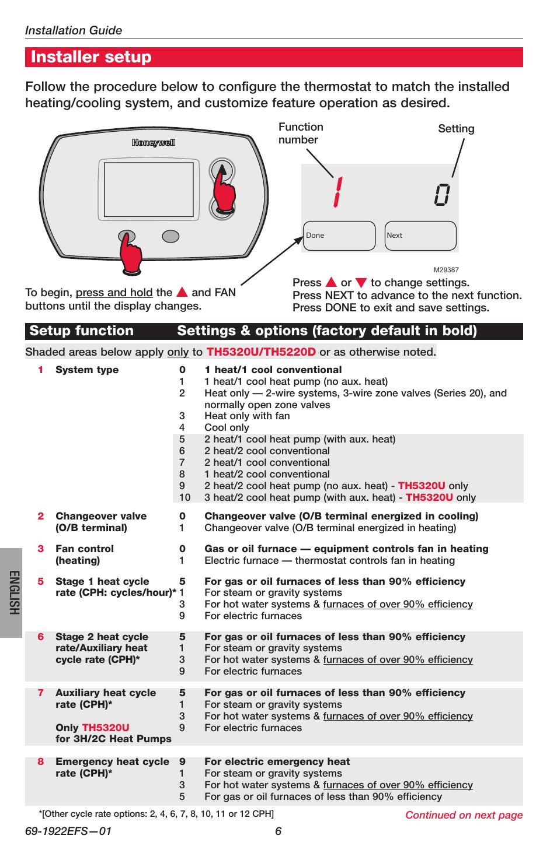 Installer setup, English | Honeywell FocusPRO TH5000 Series User Manual |  Page 6 / 24
