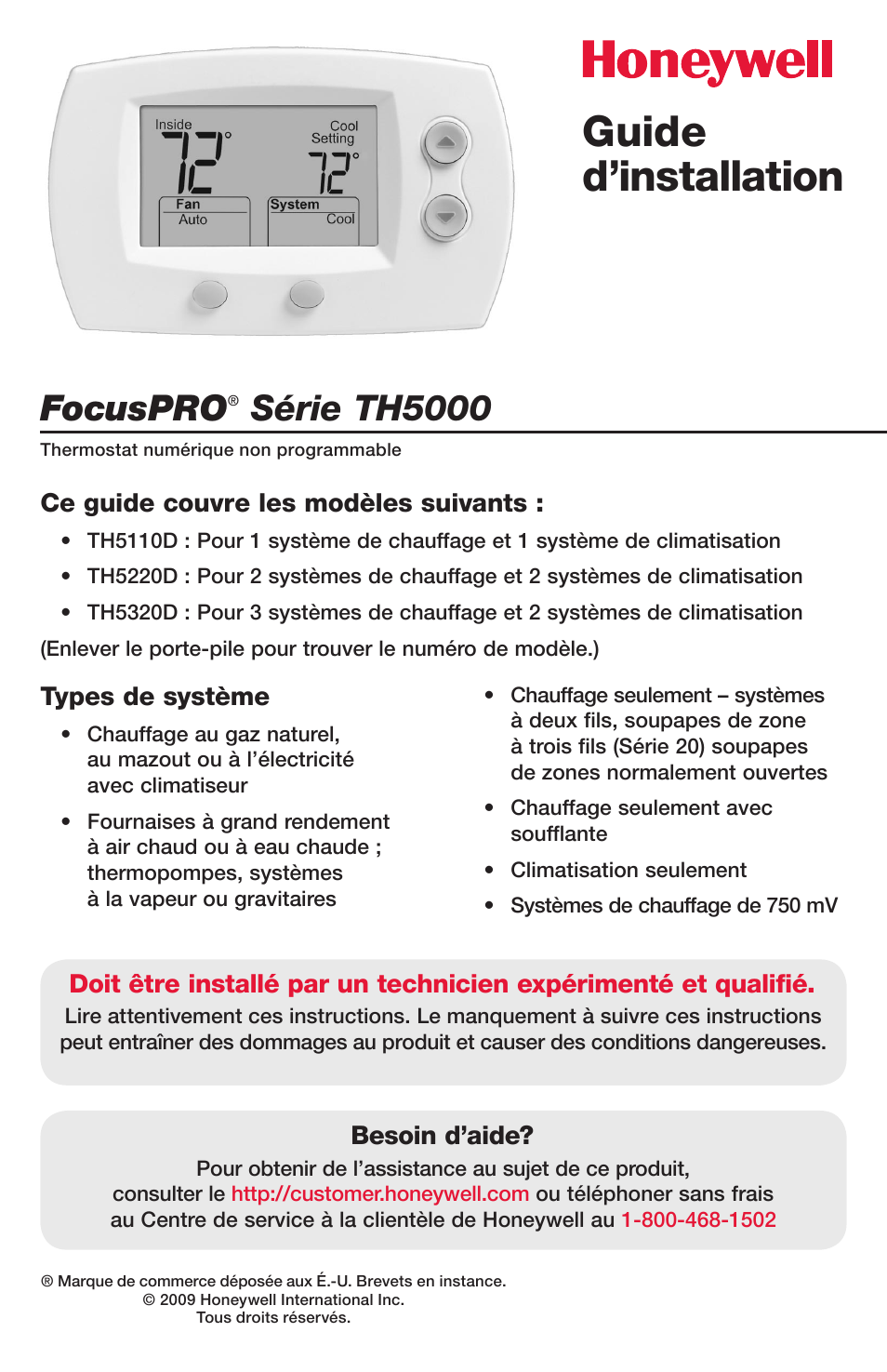 Guide d'installation, Focuspro, Série th5000 | Honeywell FocusPRO TH5000  Series User Manual