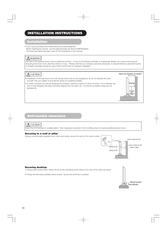 anti tumble measures installation instructions installation rh manualsdir com hitachi l200 user manual hitachi ac user manual pdf