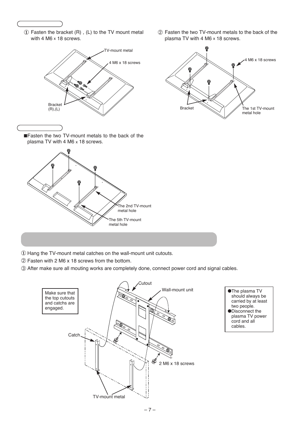 Installing The Plasma Tv On Wall Mount Hitachi 42pma500 User Wiring Diagram Manual Page 65 68