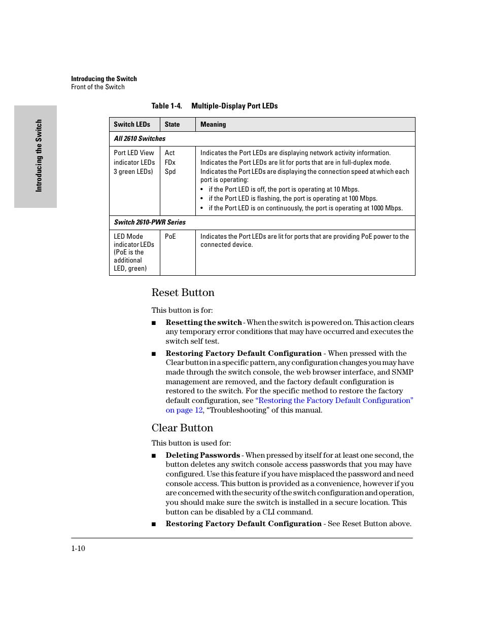Reset button, Clear button, Reset button -10   HP PROCURVE