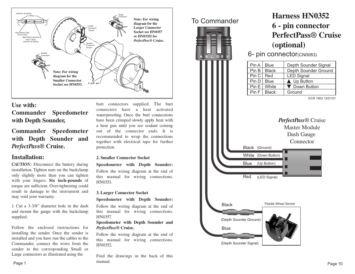 Pin Connector Faria Instruments Commander User Manual Page 12 16 Wiring Diagram For 6