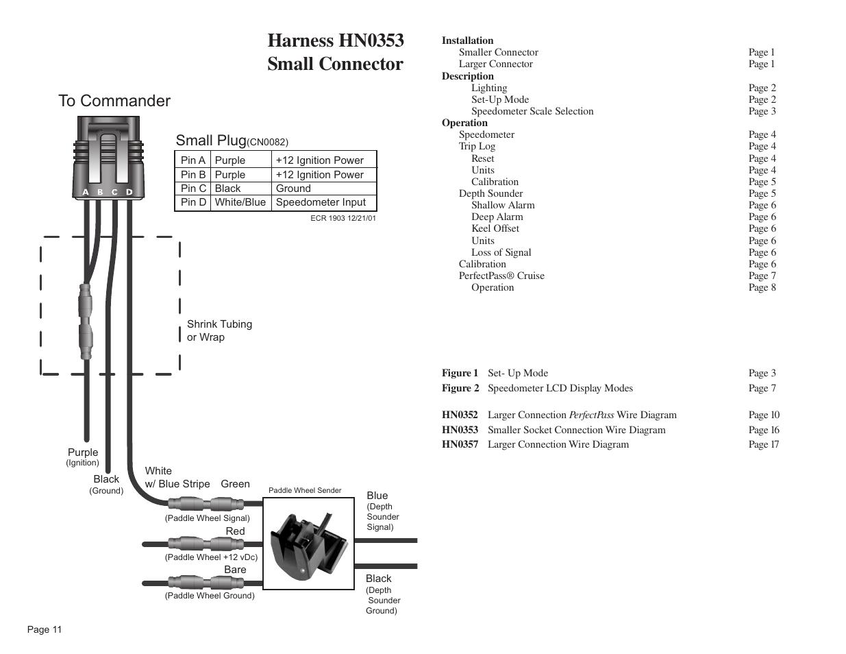 Harness hn0353 small connector, Small plug   Faria ... on