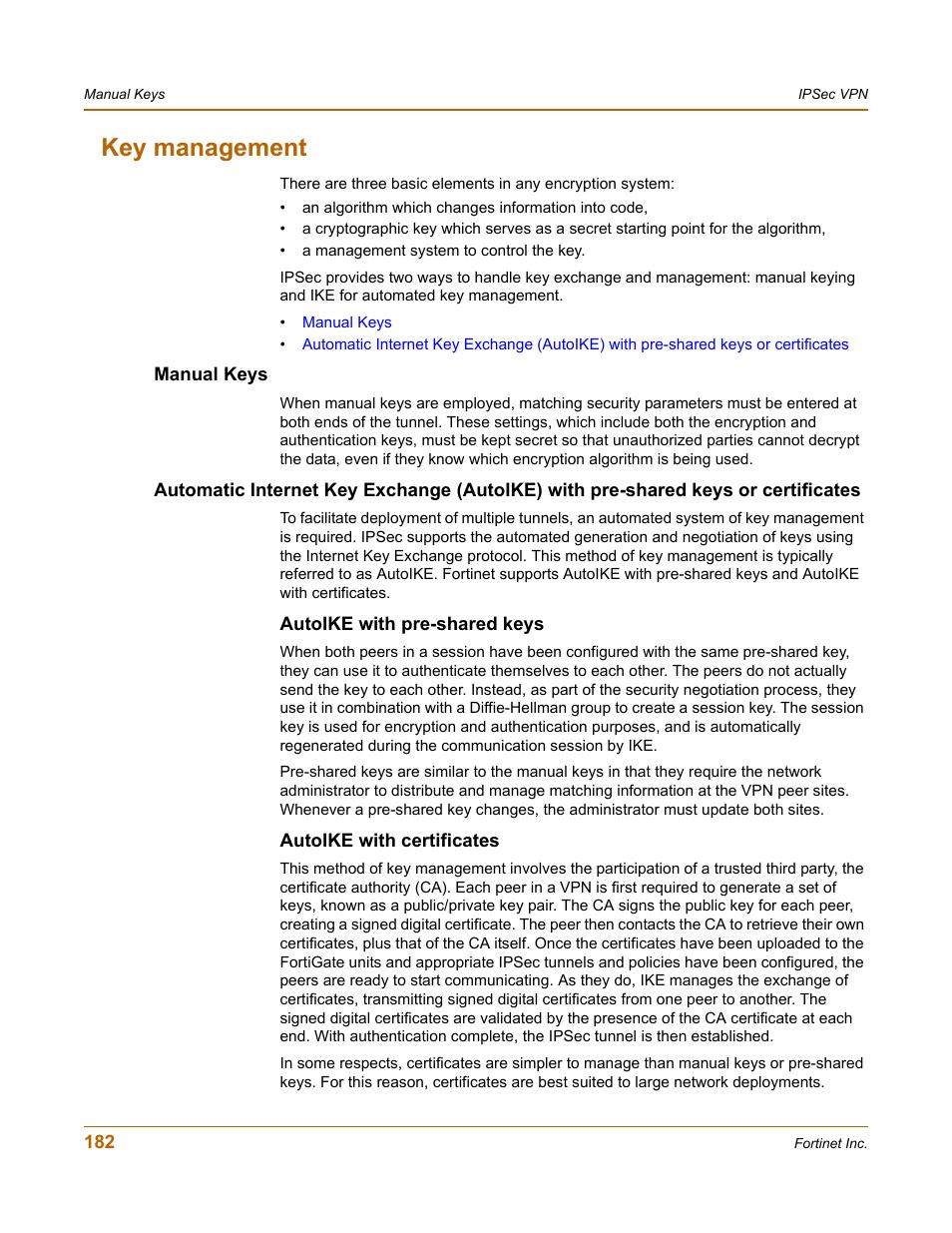 Key management, Manual keys, Autoike with pre-shared keys