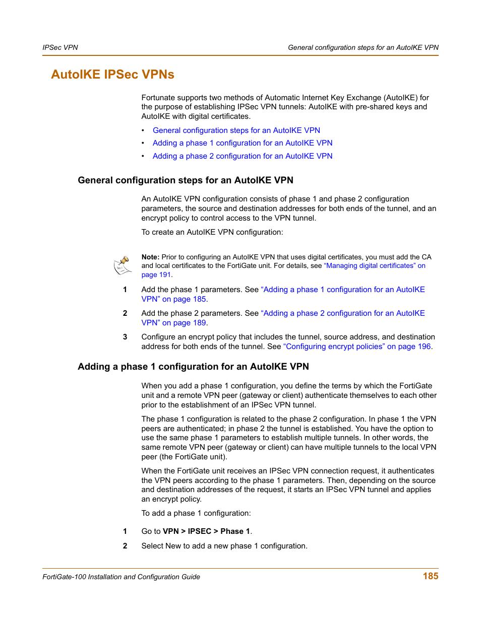 Autoike ipsec vpns, General configuration steps for an
