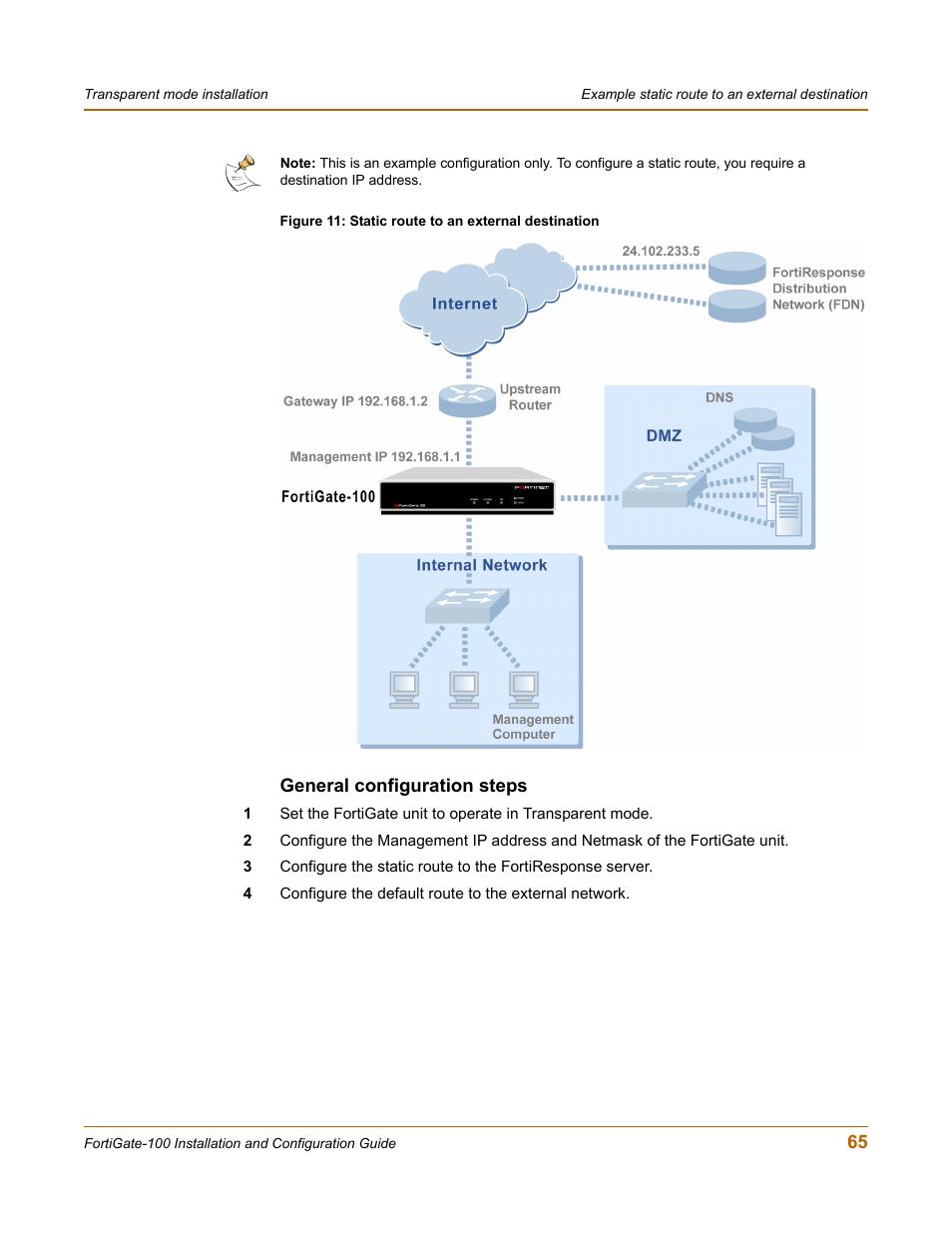 General configuration steps | Fortinet FortiGate 100 User Manual