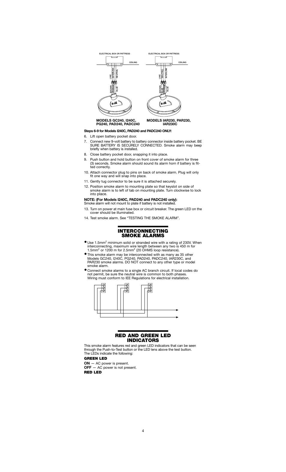 Interconnecting smoke alarms, Red and green led indicators | Firex I240C  User Manual | Page 4 / 8