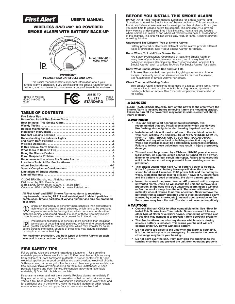 brk first alert sc9120a manual