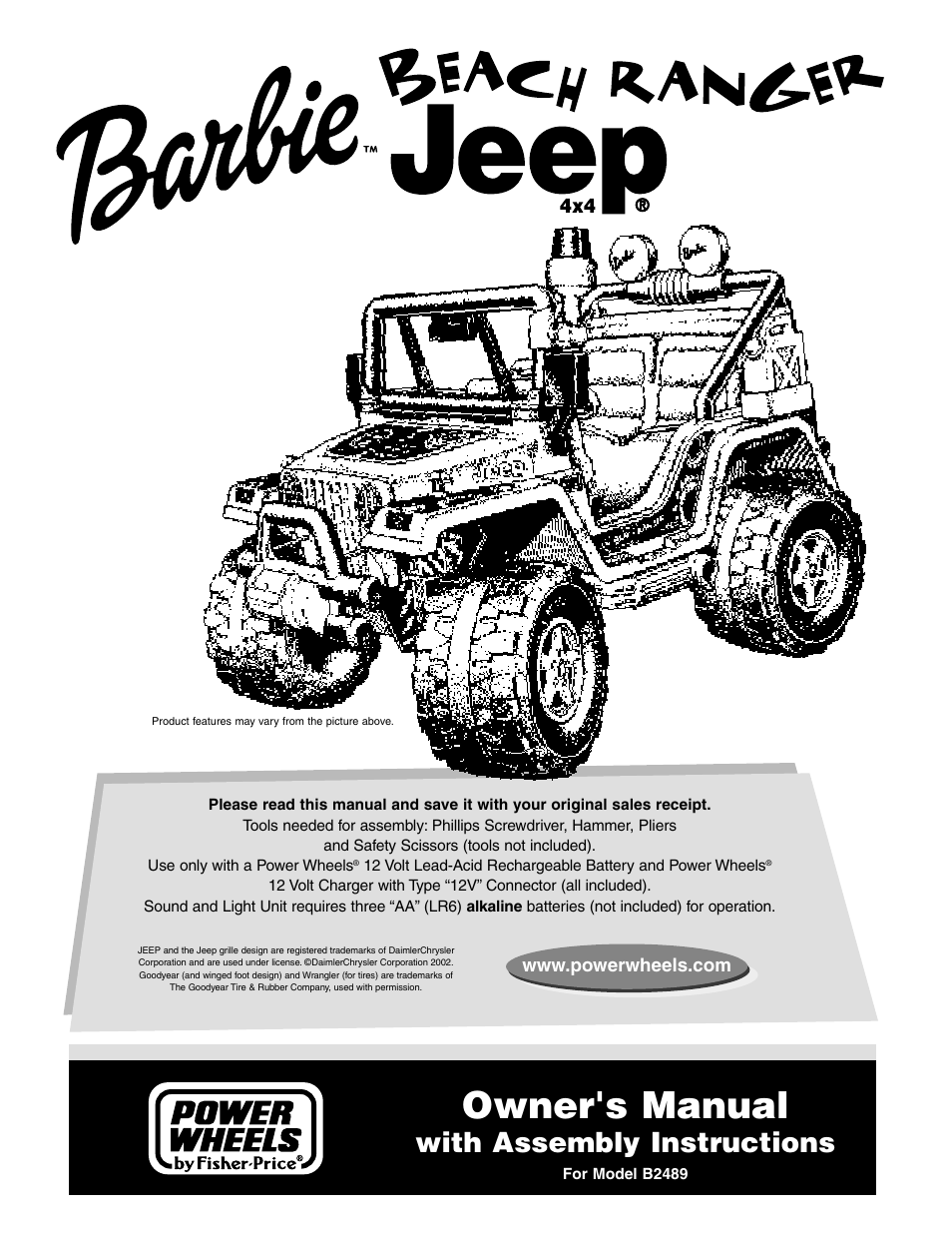 Fisher Price Barbie Jeep B2489 User Manual 36 Pages