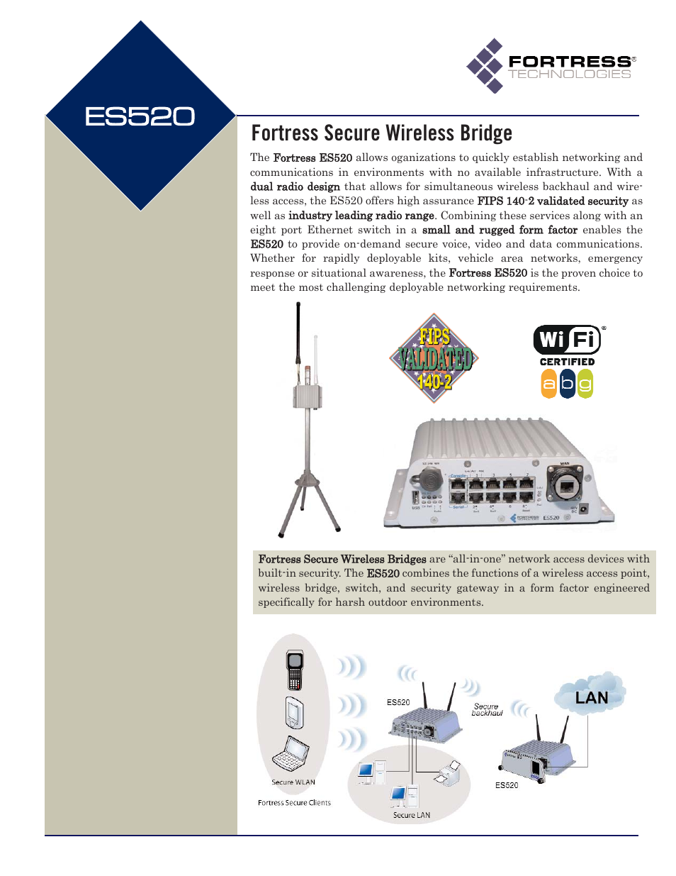 Fortress Technologies Fortress Secure Wireless Access Bridge ES520 User  Manual | 2 pages