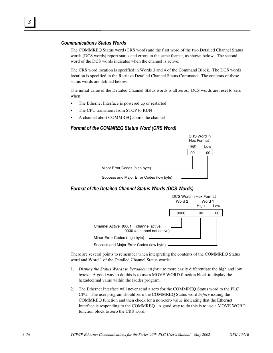 Communications status words, Format of the commreq status word (crs