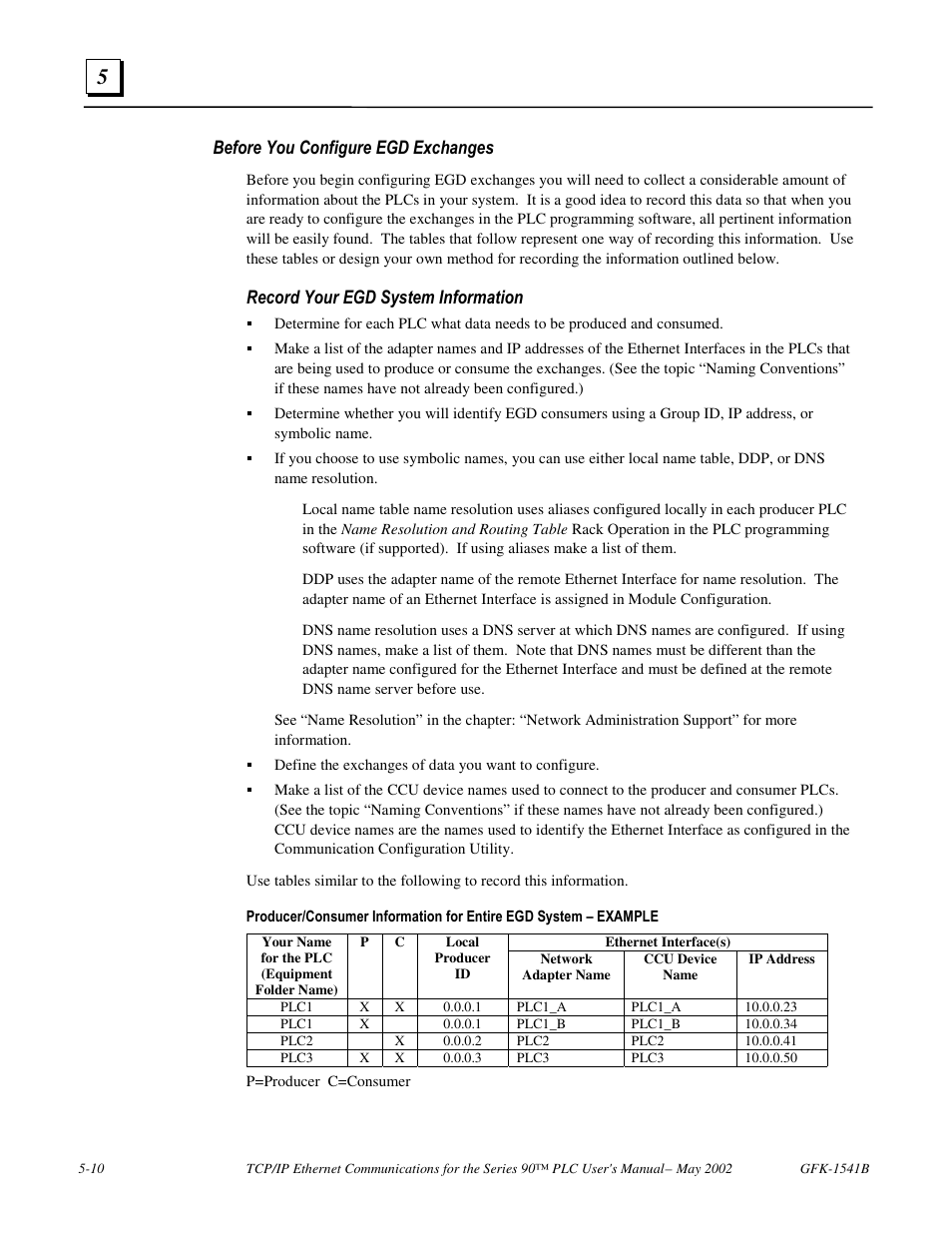 Before you configure egd exchanges, Record your egd system information | FANUC  Robotics America GFK-1541B User Manual | Page 159 / 240