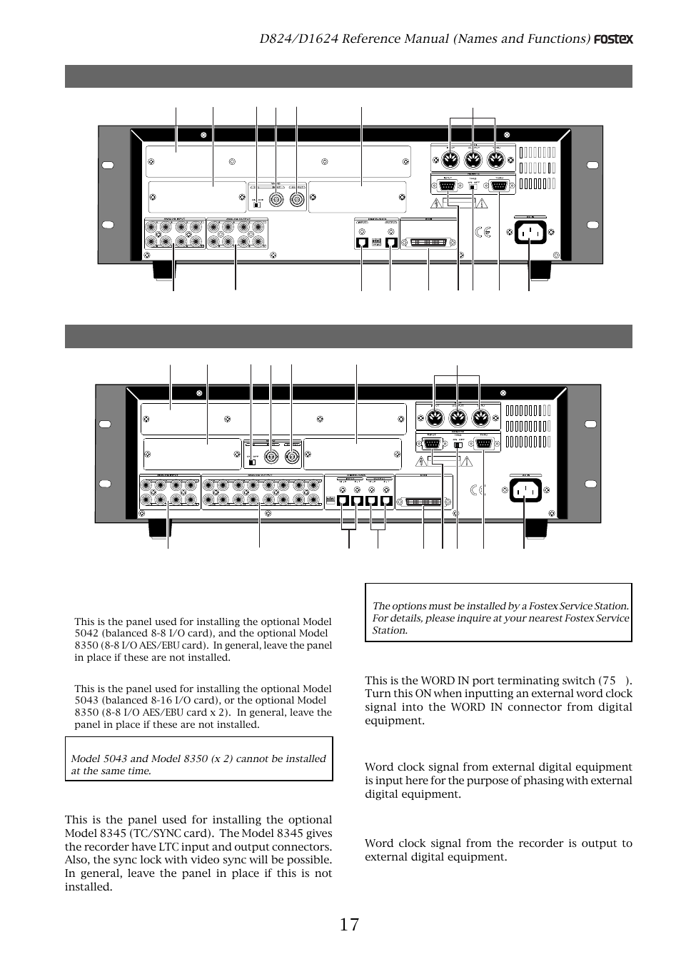 Rear panel section | Fostex D1624 User Manual | Page 17 / 136