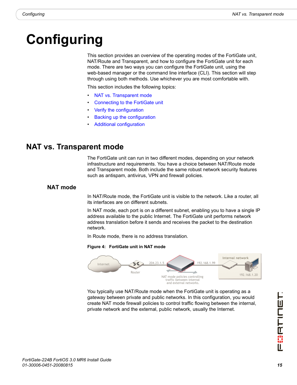 configuring nat vs transparent mode nat mode fortinet fortigate rh manualsdir com