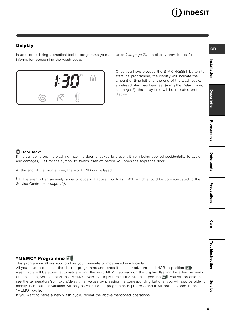 Display indesit wise 107 x user manual page 5 60 buycottarizona Choice Image