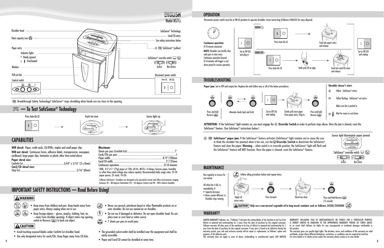 model ms7cs model ms7c operation troubleshooting maintenance rh manualsdir com fellowes venus 125 user manual fellowes 99ci user manual