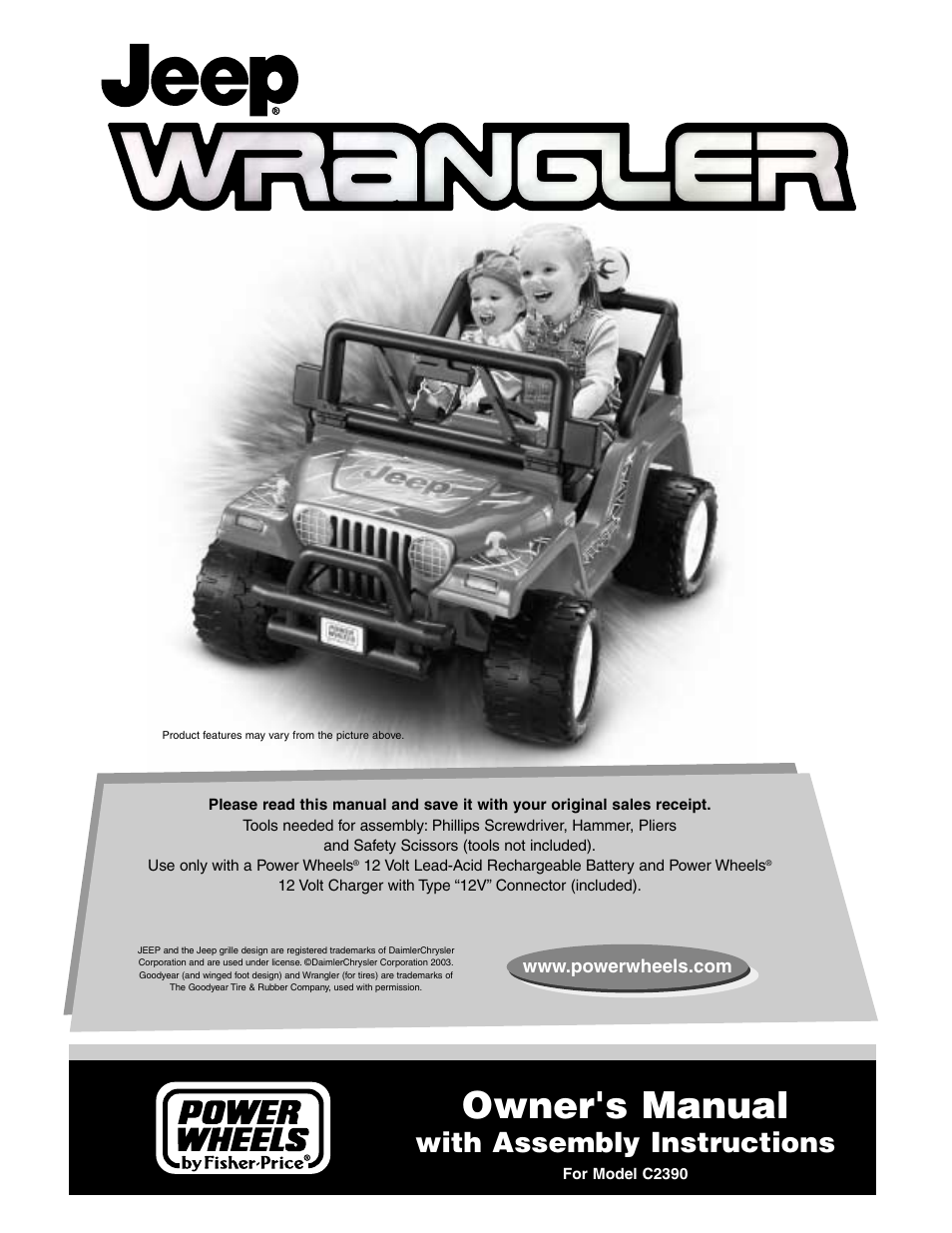 fisher price c2390 user manual 28 pages rh manualsdir com jeep wrangler power wheels instruction manual power wheels barbie jeep instruction manual