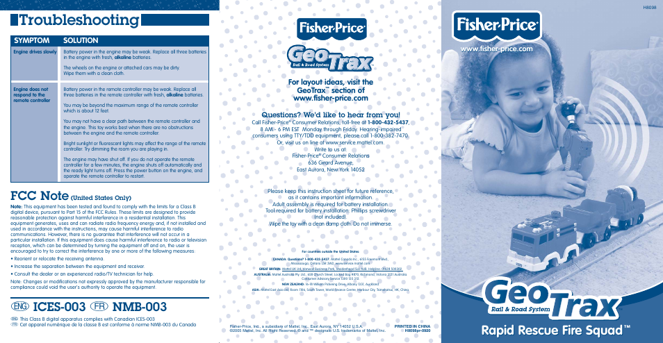 Fisher Price Geotrax H8098 User Manual 2 Pages